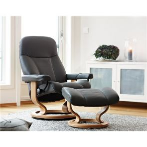 Stressless Consul Medium Fabric Classic Recliner with Footstool