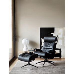 Stressless Tokyo Fabric Star with Headrest Chair w/footstool Medium