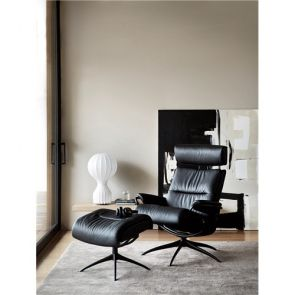 Stressless Tokyo Fabric Star with Headrest Chair w/footstool (High Base) Medium
