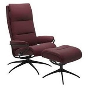 Stressless Tokyo Fabric Star Chair w/footstool (High Base) Small