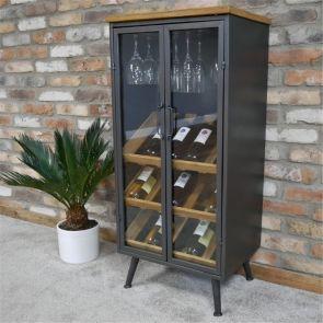 Industrial Wine Cabinet With Glass Doors